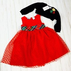 Red Holiday Dress & Sweater Set -   2 piece NWT